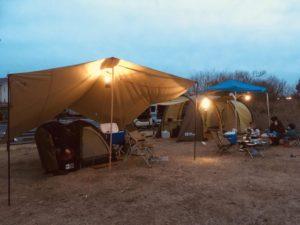 トンネル2ルームテント 冬キャンプ