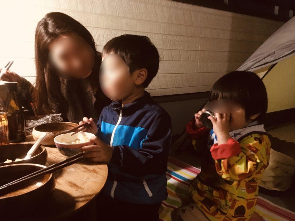 ベランダキャンプで子供たちは大喜び!
