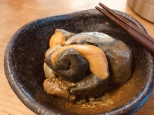 バイ貝の肝で晩酌